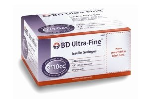 BD Ultra-Fine II Needle 3/10cc Insulin Syringes with half-unit markings
