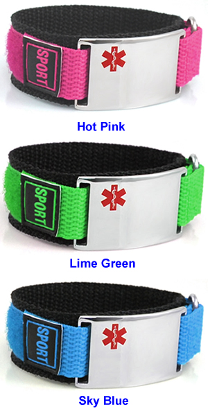 Velcro/Nylon Diabetes ID Bracelets