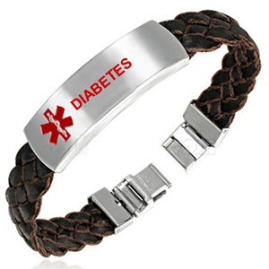 Soft Leather Diabetes ID Bracelet