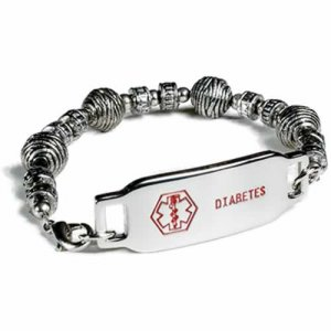 Buy This Stainless Steel Beads Diabetes Medical ID Bracelet