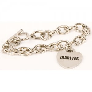 Buy this Stainless Steel Chain Charm Diabetes Medical Alert ID Bracelet