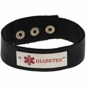 Buy this Black Cuff Diabetes Brushed Leather Medical ID Bracelet