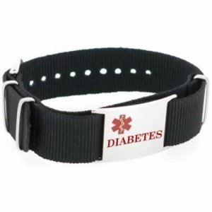 Buy this Black Diabetes Canvas Medical ID Bracelet