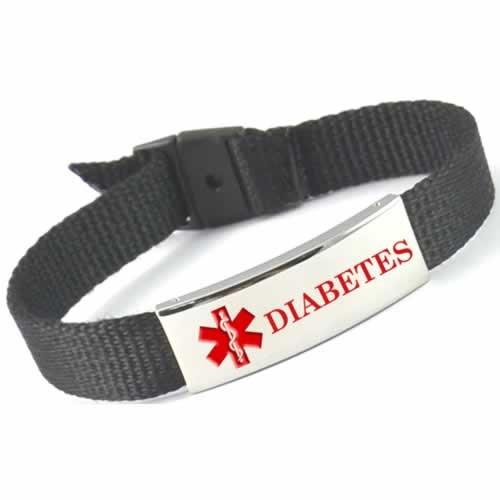 Buy this Black Diabetes Nylon Medical ID Bracelet