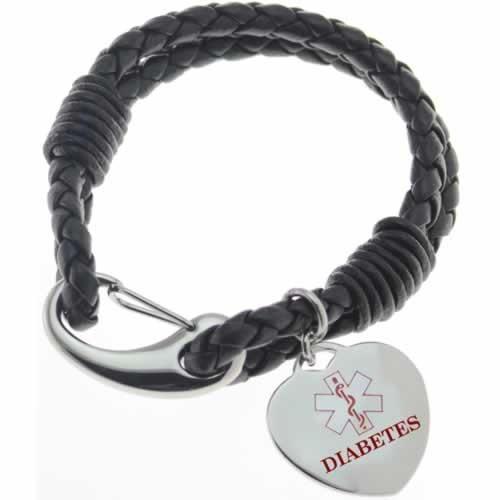 Buy this Black Multi-strand Diabetes Braid Leather Medical ID Bracelet