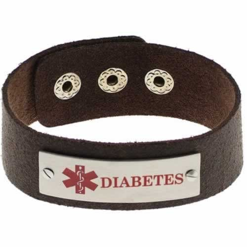 Buy this Brown Cuff Diabetes Brushed Leather Medical ID Bracelet