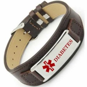Buy This Brown Diabetes Formall Leather Medical ID Bracelet