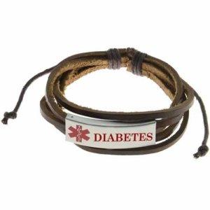 Buy This Brown Multi-cord Diabetes Leather Pull Medical ID Bracelet