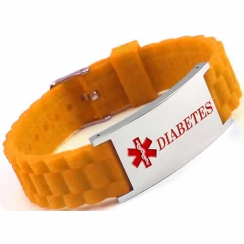 Buy This Orange Diabetes Silicone Medical ID Bracelet