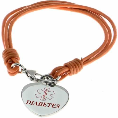 Buy This Orange Multi-strand Diabetes Rope Leather Medical ID Bracelet