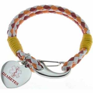 Buy This Orange Purple Multi-strand Diabetes Braided Leather Medical ID Bracelet
