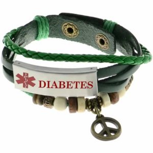 Buy This Peace Charm Diabetes Green Leather Medical ID Bracelet