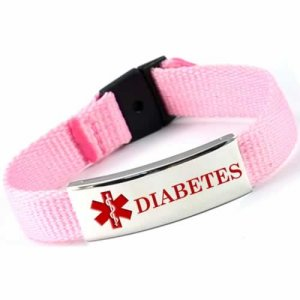 Buy This Pink Diabetes Nylon Medical ID Bracelet