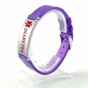 Buy This Purple Diabetes Leather Strap Medical ID Bracelet