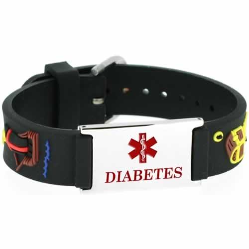 Buy This PVC Black Pirates Diabetes Medical ID Bracelet