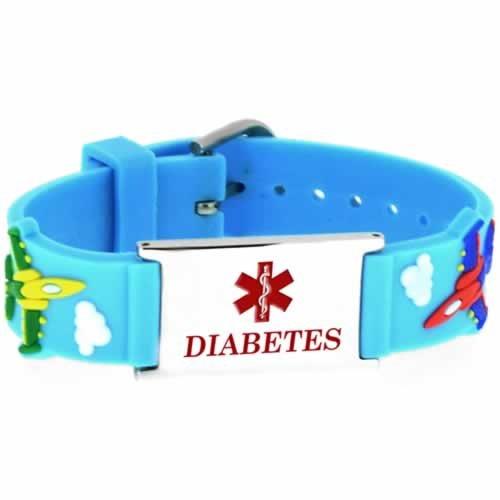 Buy This PVC Blue Planes Diabetes Medical ID Bracelet