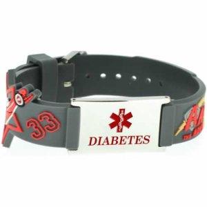 Buy This PVC Gray Race Cars Diabetes Medical ID Bracelet