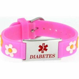 Buy This PVC Pink Flowers Diabetes Medical ID Bracelet