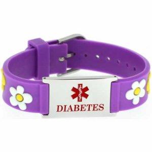 Buy This PVC Purple Flowers Diabetes Medical ID Bracelet