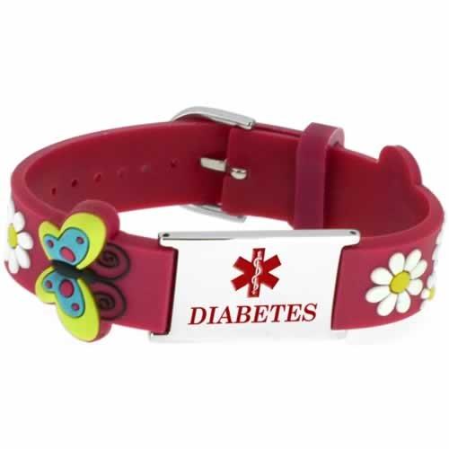 Buy This PVC Red Butterflies Diabetes Medical ID Bracelet