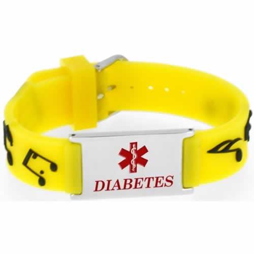 Buy This PVC Yellow Music Diabetes Medical ID Bracelet