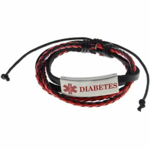 Buy This Red Diabetes Braided Leather Pull Medical ID Bracelet