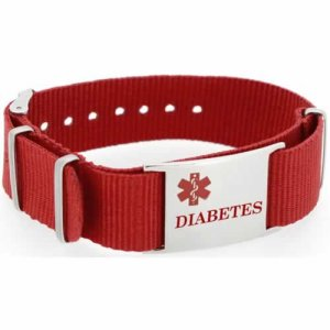Buy This Red Diabetes Canvas Medical ID Bracelet