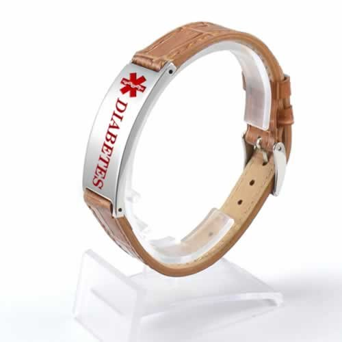 Buy This Tan Diabetes Leather Strap Medical ID Bracelet