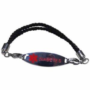 Buy this Multi-cord Black Braided Leather Diabetes Medical Alert ID Bracelet