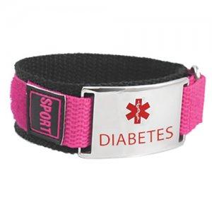 Buy This Hot Pink Nylon Velcro Diabetes Medical Alert ID Bracelet