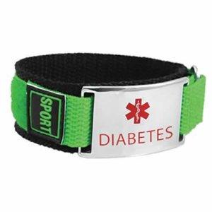 Buy This Lime Green Nylon Velcro Diabetes Medical Alert ID Bracelet