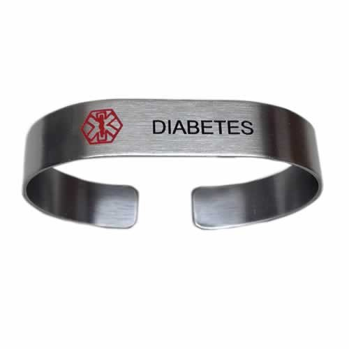 Buy this Stainless Steel Cuff Band Diabetes Medical Alert ID Bracelet