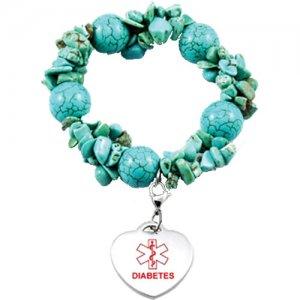 Buy this Turquoise Bead Charm Diabetes Medical Alert ID Bracelet