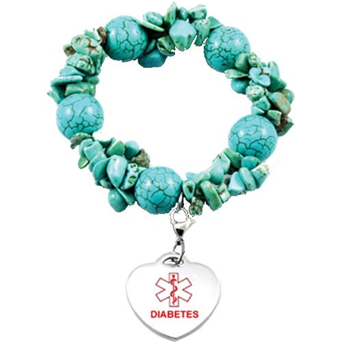 Buy this Turquoise Bead Charm Diabetes Medical Alert ID Bracelet