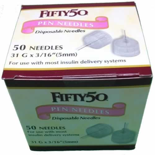 Buy FIFTY 50 Pen Needles 31G 5mm insulin injections