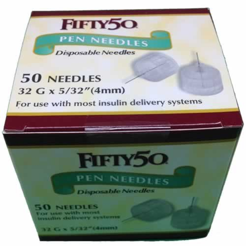 Buy FIFTY 50 Pen Needles 32G 4mm insulin injections